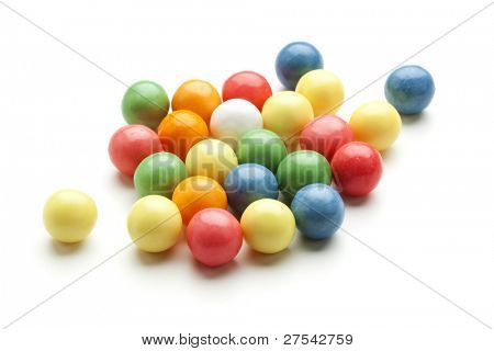 colorful bubble gum balls isolated on white