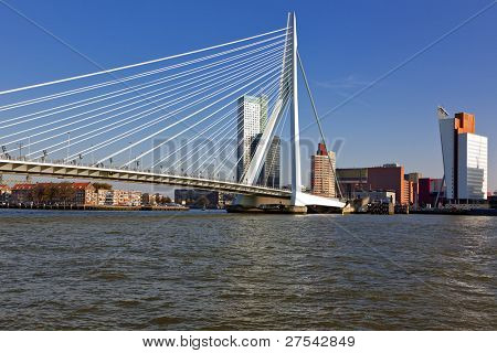 Erasmus Bridge across the River Meuse and the Wilhelmina Pier at Rotterdam