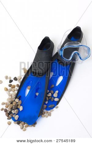 Blue flippers and snorkeling mask isolated on white background