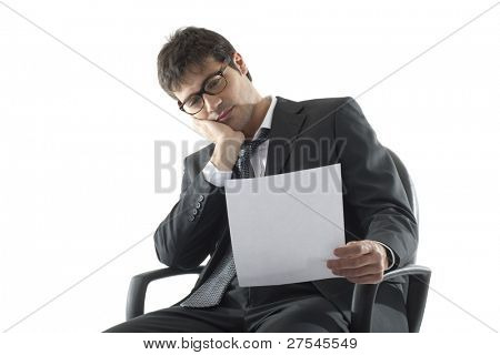 Tired/Bored Businessman analyzing document