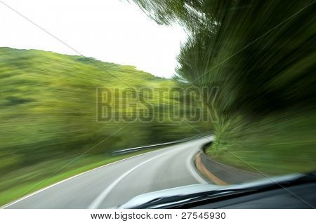 Country road, blurred motion