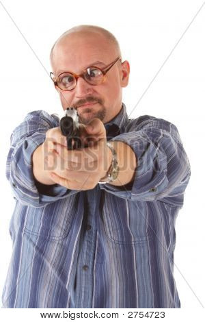 Cross-Eyed Man With Pistol. Isolated.