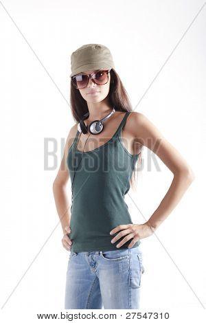 Teenager-Mädchen tragen von Kopfhörern