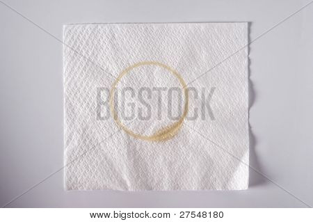 Napkin with a coffee stain