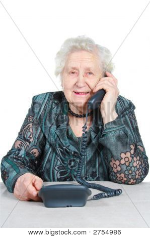 Grandmother Is Calling By Phone.