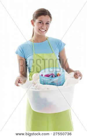 Happy Woman Doing the Laundry, white background