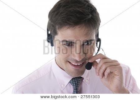 Confident Customer Service Representative on White