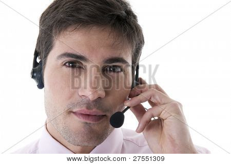 Confident Customer Service Representative on White