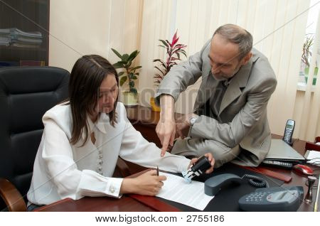 In Office. Female Sign A Treaty.