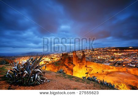 Sunset light over Fes el Bali, Morocco, Africa