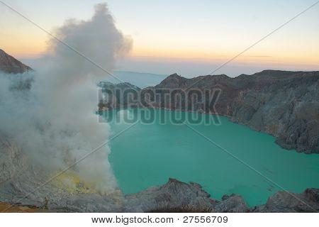 Sulfur lake at Ijen Crater