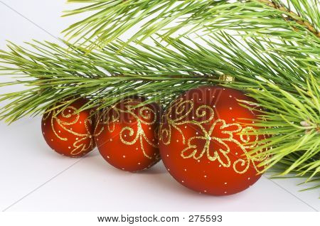 Red Balls With Pine Branch