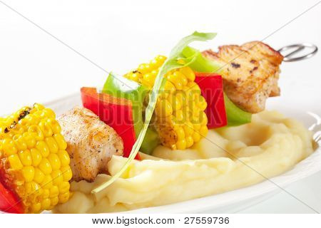 Mashed potatoes with skewer