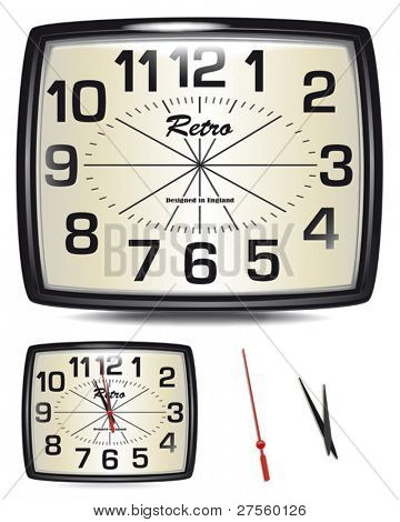 Vector Retro Clock.  Change the time to suit your own projects.  Excellent to use as part of a New Years design.