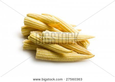 Baby corn cobs on white background