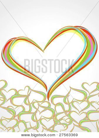 Rainbow lines crossing each other in heart shape on white background presentation for Valentine Day.