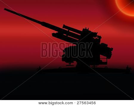 Ww2 Sunset Anti Aircraft Gun