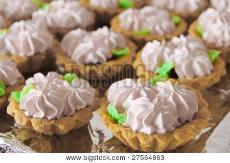 Cream flower dessert