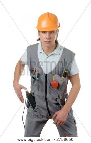 Um trabalhador da construção civil
