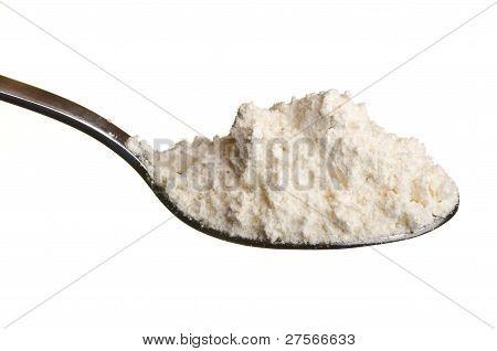 White Wheat Flour Powder In A Spoon