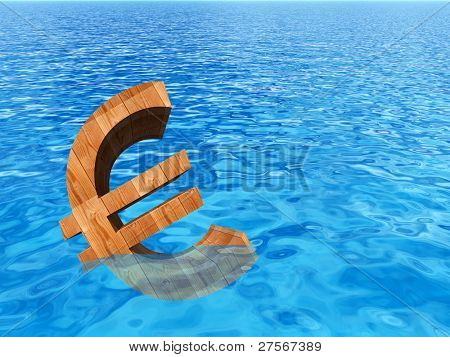 High resolution conceptual 3D currency euro sign or symbol sinking in water,sea or ocean as a concept for European crisis. It is a metaphor for financial,banking, economy,problem,danger or risk design