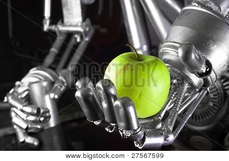 Robot Hand Holding Green Apple