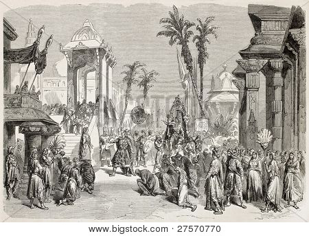 Theatre de la Porte-Saint-Martin, Paris, Faust representation, eight scene. Created by Worms after d?cor by Cambon, published on L'Illustration, Journal Universel, Paris, 1858