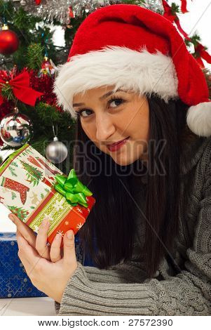 Beauty Woman By Christmas Tree