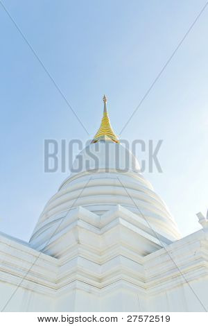 White Pagoda In A Temple Thailand