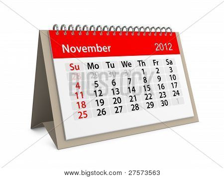 Monthly Calendar For New Year 2012. November