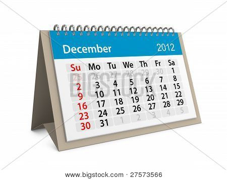 Monthly Calendar For New Year 2012. December