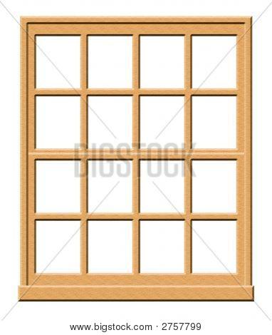 Wood Window Isolated On White Background