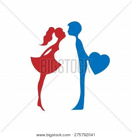 Silhouettes Of Kissing Boy And