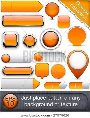 Blank orange web buttons for website or app. Vector eps10.