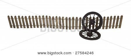 Dark Fence With Two Western Stagecoach Style Wheels