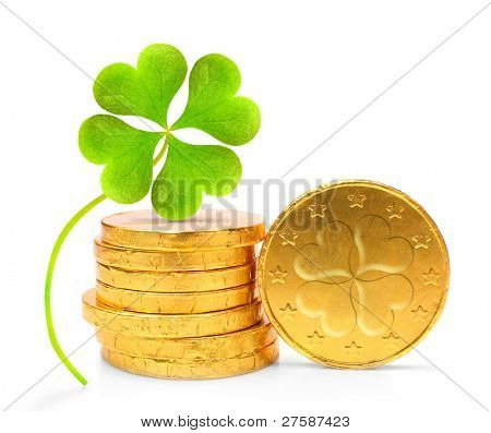 Golden coins with four leaf clover on a white background.