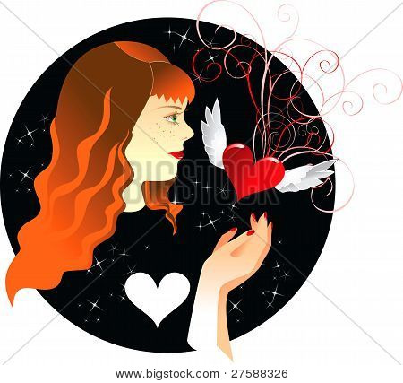 ginger girl and heart
