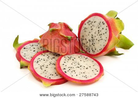 fresh pitaya fruit (Hylocereus undatus) on a white background