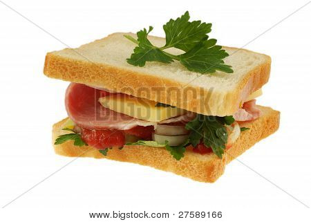 sandwich on white