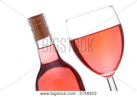 Blush Wine Bottle And Glass