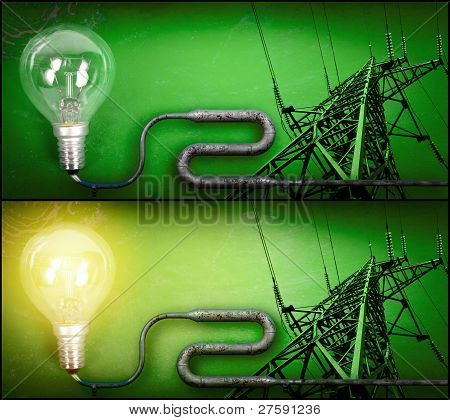 Lightbulb And Electricity Pylon