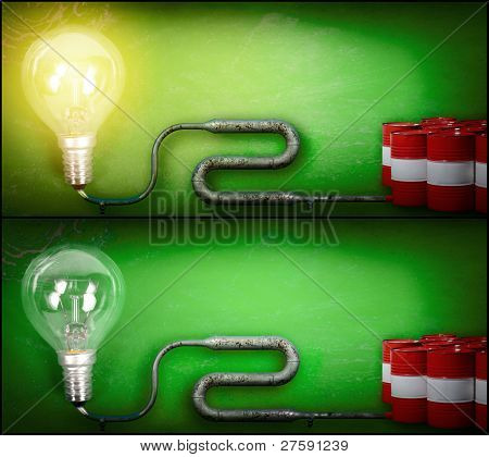 Lightbulb And Gasoline Barrels
