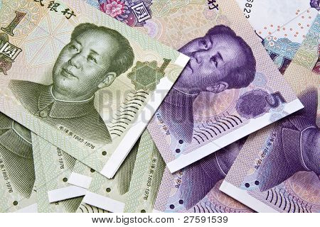 Background of different chinese money closeup