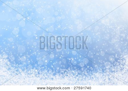 Winter Blue Sparkly Sky Sunlight and Snow Background