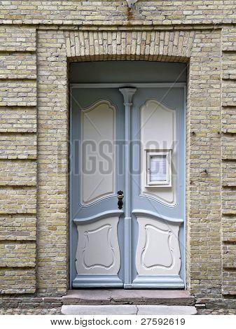 Door To The Moravian Church Hall In Christiansfeld In Denmark