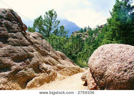 Mountain Trail Through Large Boulders