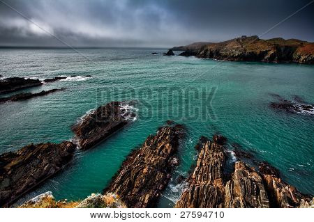 Irish coastline cliff landscape intense colors