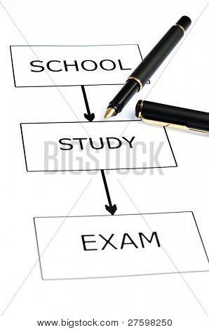 School scheme and pen on white