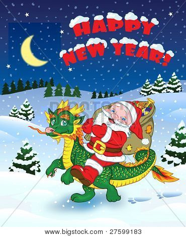 Christmas greetings with Santa and dragon