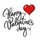 Happy Valentines Day Handwritten Lettering. Black Calligraphic Text With Red Heart Shaped Balloon Is poster